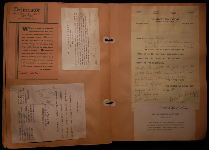 page from a scrapbook of rejection letters of mary horlbeck